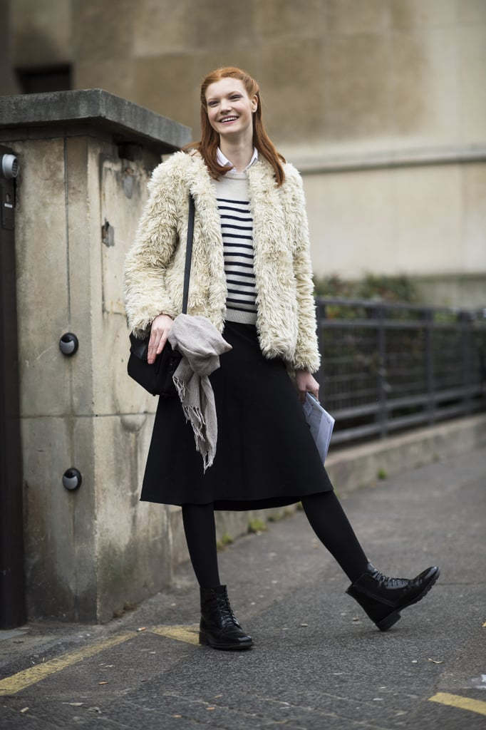She mastered the chic Parisian vibe in her stripes and furry topper.  Source: Le 21ème | Adam Katz Sinding