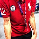 Giuliana Rancic helped Bruce Jenner show off his muscles.  Source: Twitter user GiulianaRancic