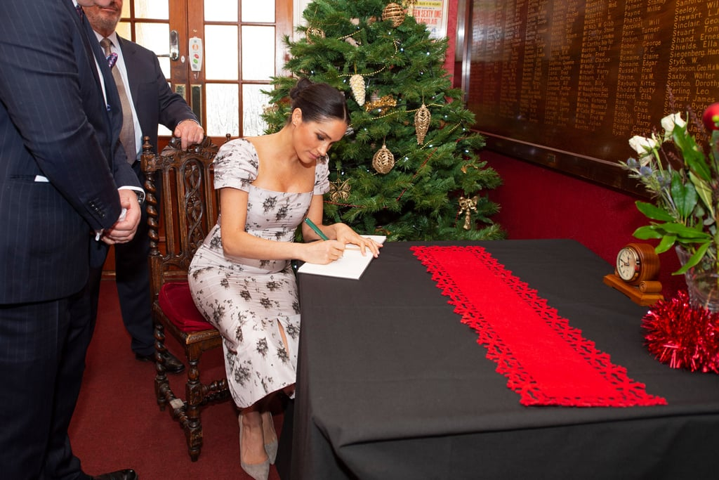 "Welp, in case you had any doubt, Meghan Markle does have picture-perfect handwriting, and it's making me rethink my own priorities. The Duchess of Sussex put her calligraphy skills to good use on Tuesday during a solo engagement to a Royal Variety Charity residential care home in London, where she and the residents did arts and crafts and decorated a photo frame that featured their own designs and Meghan's penmanship. She also signed the official guestbook.  In case you're oohing and ahhing over Meghan's handwriting like I am, you should take comfort in the fact that she honed those skills over time. Long before she began her married life with Prince Harry, Meghan supported her acting career by working as a wedding calligrapher and as an instructor at Paper Source in Beverly Hills from 2004 to 2005. ""I think handwritten notes are a lost art form,"" she once told Good Housekeeping. ""The idea of someone taking the time to put pen to paper is really special."" It's usually against royal protocol to sign autographs, but thanks to special outings and her fair share of guestbooks, Meghan still has the opportunity to show off her talent from time to time. Ahead, see a snap of Meghan's elegant calligraphy, plus more rare instances where she put her penmanship on display.      Related:                                                                                                           God Save the Queen and the Rest of the Royal Family For Giving Us Good Laughs in 2018"