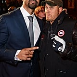 Looking tough with boxer David Haye at the Jack Reacher London premiere in 2012.