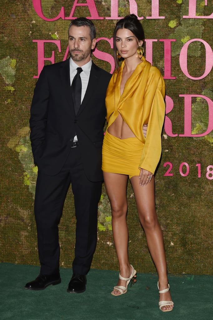 Emily Ratajkowski Yellow Outfit at Green Carpet Awards 2018