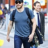 Jake showed off his buff body as he paced through New York City in early 2013.