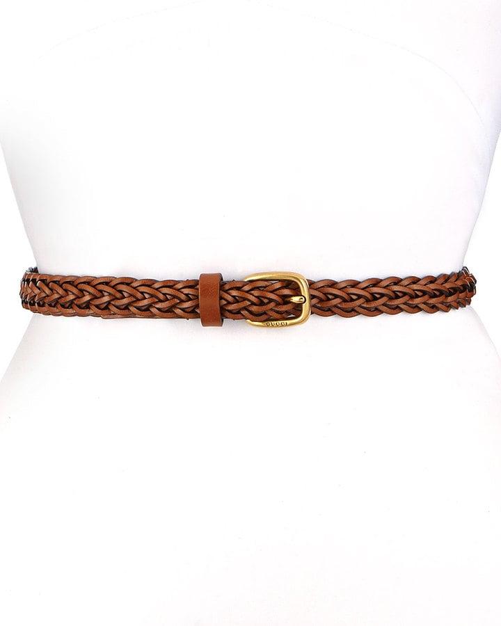 Gucci Square Buckle Skinny Braided Belt ($360)