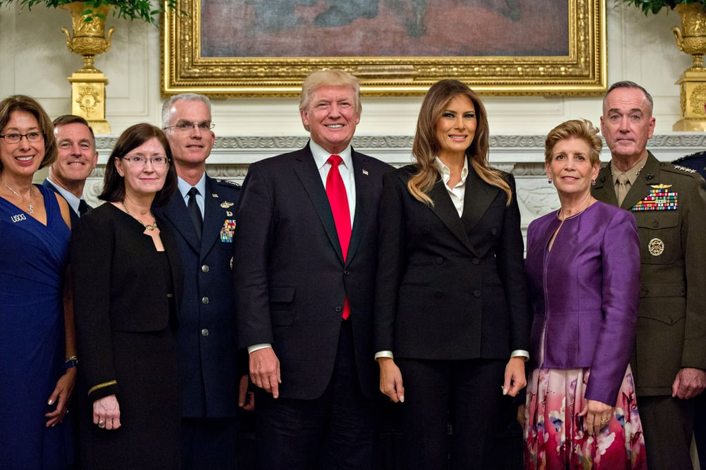 Melania Trump Wearing Black Pantsuit