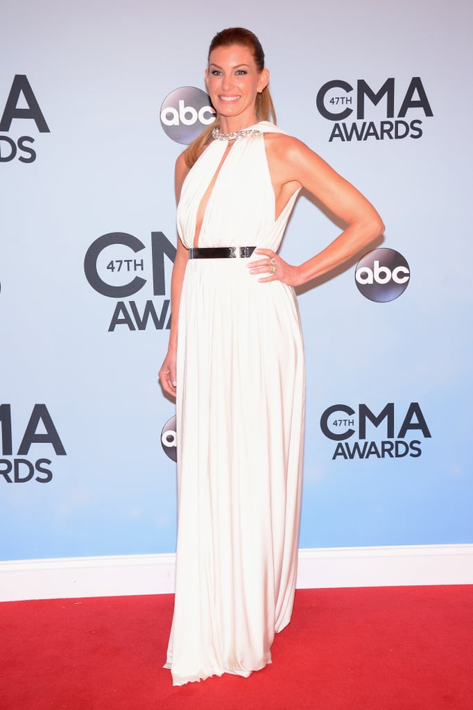 Faith Hill wore a white gown to the CMAs.