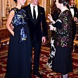 Newlyweds Benedict Cumberbatch and Sophie Hunter chatted with Princess Anne at a dinner benefitting the Motor Neurone Disease Association at Buckingham Palace in London on Tuesday.