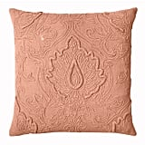 Lotus Square Throw Pillow in Coral