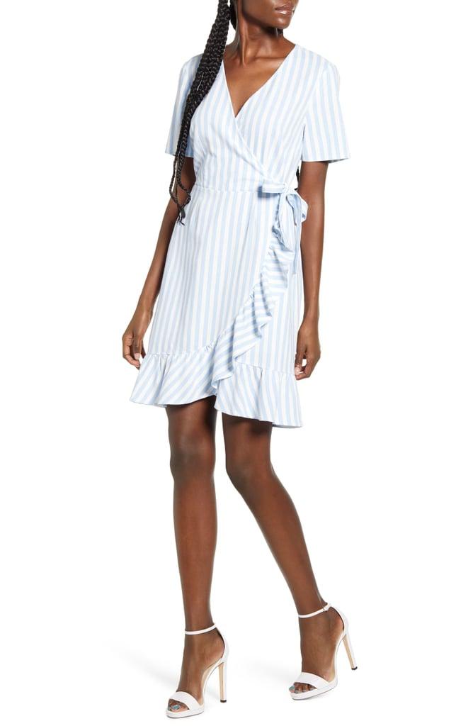 Vero Moda Helenmilo Stripe Wrap Front Linen Blend Dress