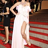 For the 2010 Met Gala, when the theme was American Woman: Fashioning a National Identity, Katy wore a Cute Circuit dress with LED lights. She wore Christian Louboutin shoes and Lorraine Schwartz jewels.