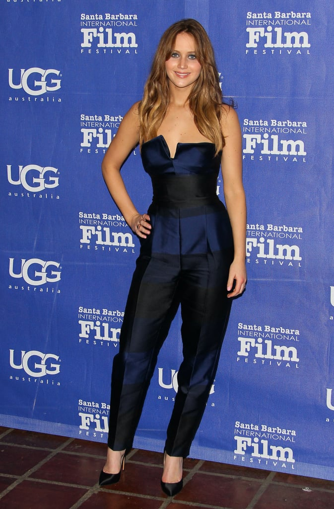 "Jennifer Lawrence sported a Stella McCartney jumpsuit to attend the awards ceremony for this year's Santa Barbara International Film Festival at Arlington Theatre in Santa Barbara, CA, last night. She had the support of her Silver Linings Playbook director David O. Russell as she accepted the honor for outstanding performer of the year for her work in his film as well as in The Hunger Games.  Jennifer's had quite the busy schedule making promotional appearances amid a hectic award season. Jennifer recently made stops by Piers Morgan Tonight and Jimmy Kimmel Live!, where she shared a revealing story with Jimmy about her uneven breasts saying, ""I was standing there with these doctors looking at my lungs and I couldn't look anywhere else; it felt like an elephant in the room."" Jennifer added, ""I hope that no one ever sees my breasts in an X-ray. I hope I'm never seen in that light."" Jennifer's Santa Barbara Film Festival award is her most recent honor. She has taken home statues from the People's Choice, Critics' Choice, Golden Globes, and most recently, the SAG awards. She has much more excitement in store as she is headed to the Oscars with a best actress nod — check out Jennifer's best award-season moments so far."