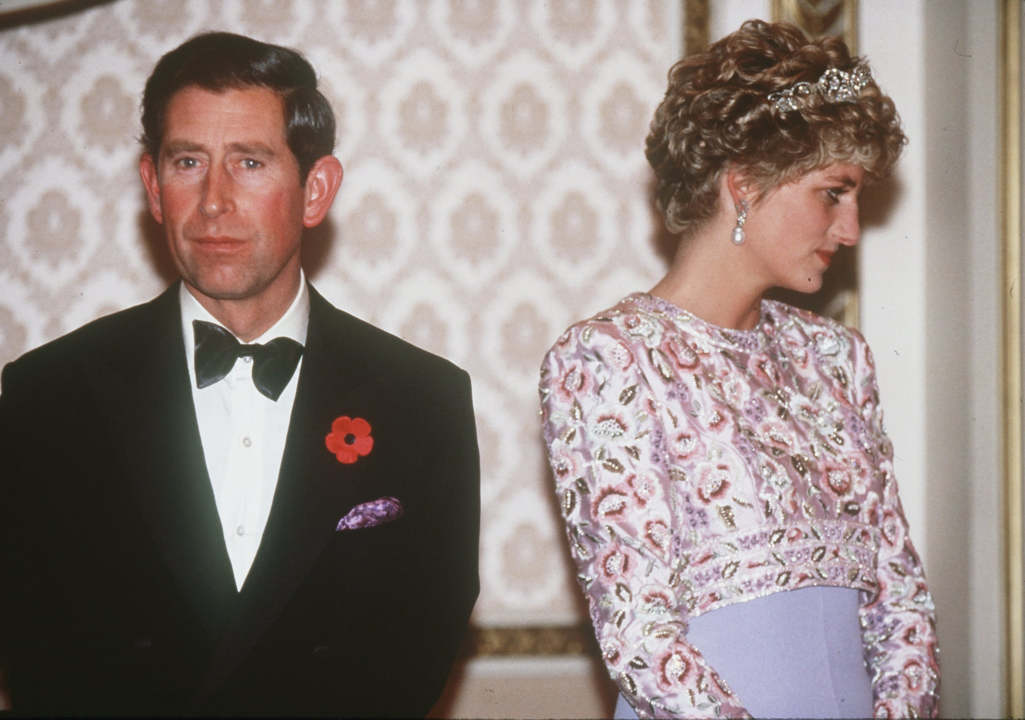 SOUTH KOREA - 1992:  Prince Charles, Prince of Wales and Princess Diana, Princess of Wales, are at loggerheads during their tour of South Korea in 1992.  Diana is wearing a mauve sheaf dress by Catherine Walker with a bolero of embroidered pastel flowers.  (Photo by Anwar Hussein/WireImage)