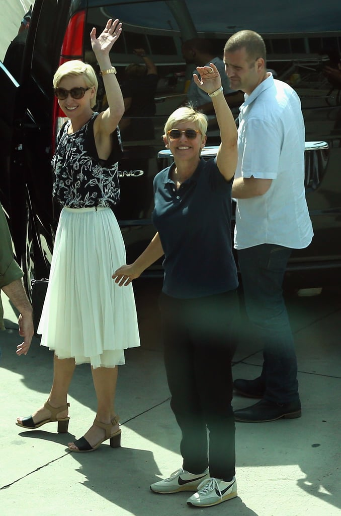 Portia and Ellen waved to fans in Australia in March 2013.