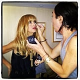 Rachel Zoe got a last-minute touch-up from a makeup artist. Source: Instagram user rachelzoe