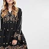 Glamorous Long Sleeved Skater Dress With Baroque Embroidery (£50)
