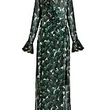 Adriana Degreas Ginkgo-Print Deep V-neck Silk Maxi Dress ($708)