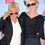 Ellen DeGeneres and Portia de Rossi smiled together at the Teen Choice Awards.