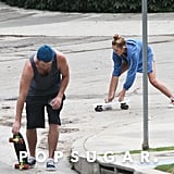 Miley Cyrus and Liam Hemsworth fixed their skateboards.