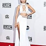 Wearing a custom Bao Tranchi set at the American Music Awards.