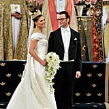 Her veil dates back to 1932, and she wore the Cameo Tiara, a regal-looking design also worn by her mother.