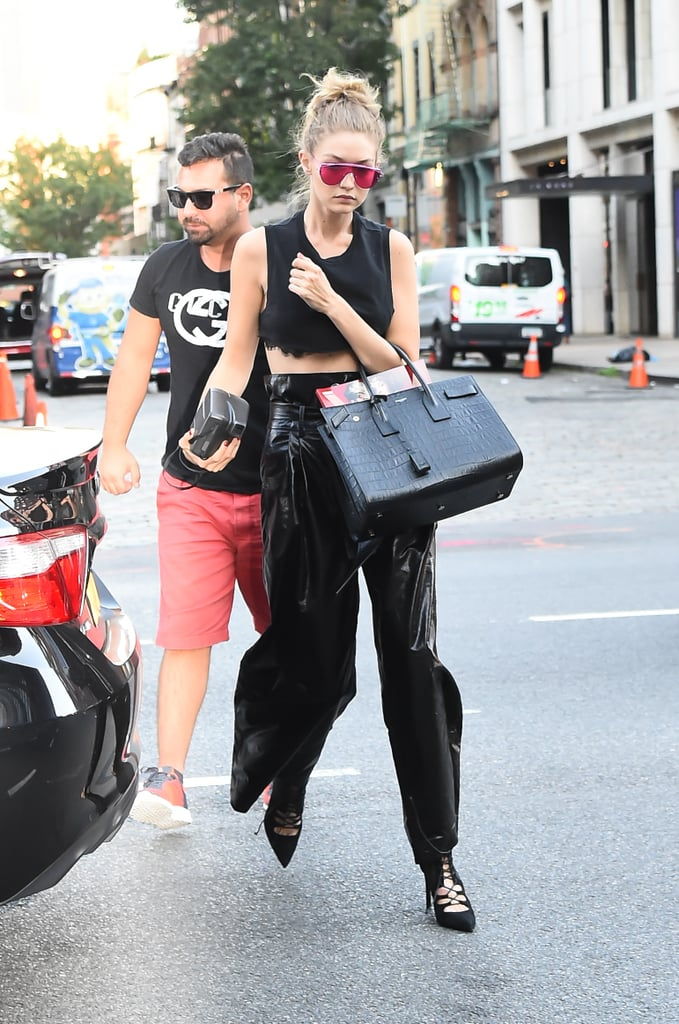 Gigi Wore This Black Crop Top With a Lace Finish . . .