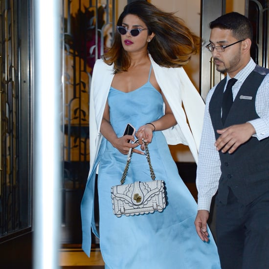 Priyanka Chopra Blue Outfit With Purple Velvet Heels