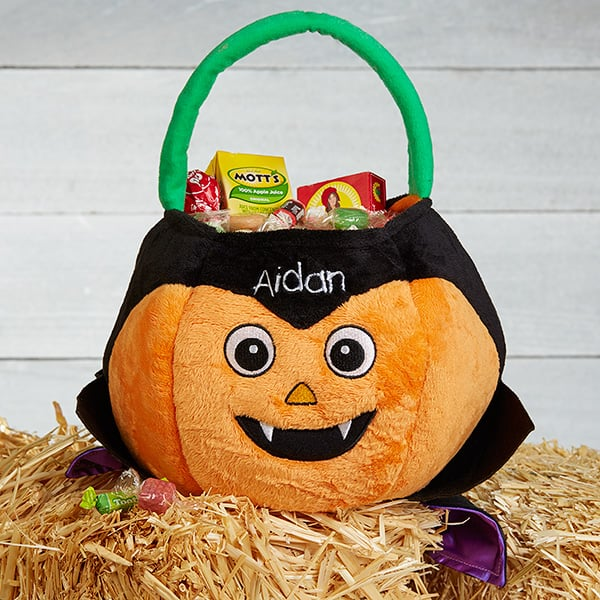 Vampire Pumpkin Plush Bucket
