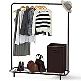 Simple Houseware Industrial Pipe Clothing Garment Rack With Bottom Shelves