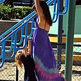 Alessandra Ambrosio and daughter Anja at a park.