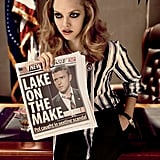 Amanda Seyfried holds up a fake tabloid in W magazine.