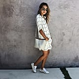A Printed Dress and Sneakers