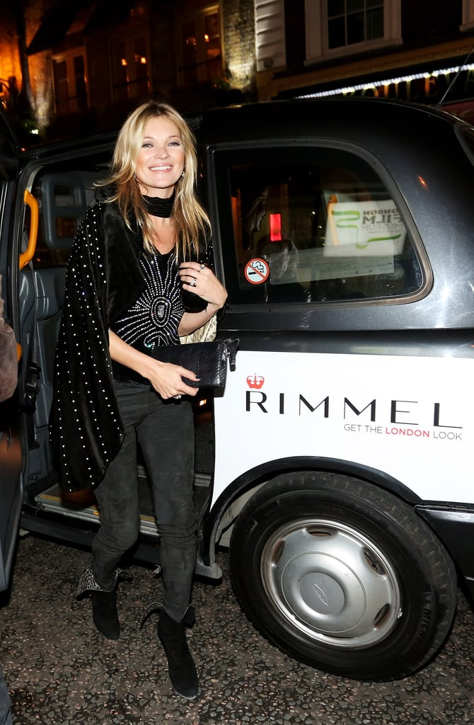 Kate Moss arrived at the Rimmel London 180 Years of Cool party.