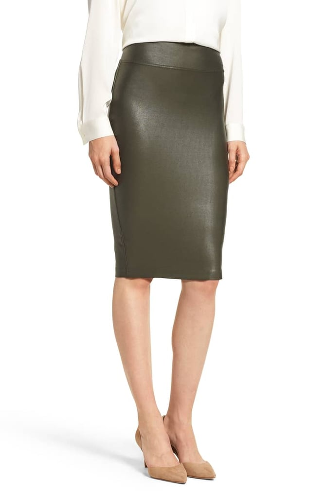 57403d3b366e9 Spanx Faux Leather Pencil Skirt | Meghan Markle's Green Hugo Boss ...
