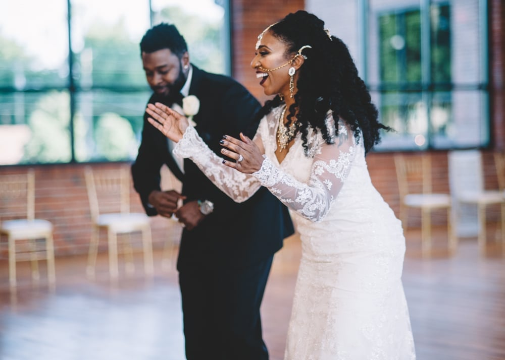 Ayisha and Chris's family-filled reception at the Cetwick Event Center in Asheboro, NC, featured West African dance performances that got everybody up and moving. See the wedding here!