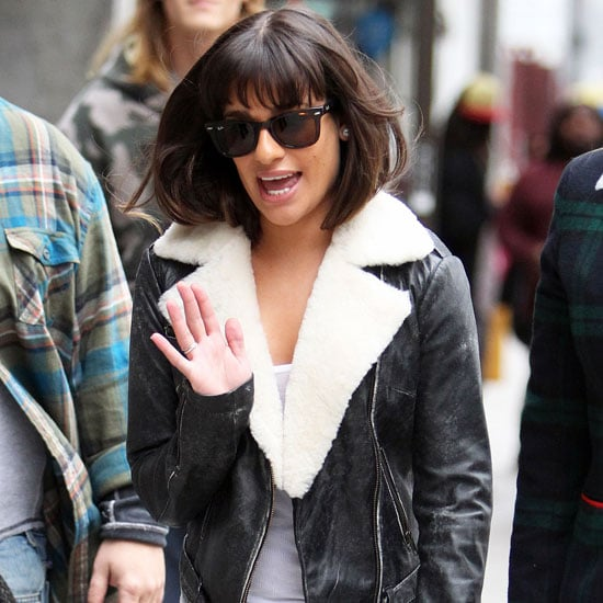 Lea Michele Wearing Shearling Leather Jacket