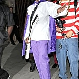 Diddy chose a standout shade of electric purple to get that '80s rocker glow.