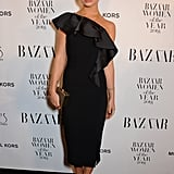 Keeping things sleek, Amelia wore a one-shoulder midi dress to the Bazaar Women of the Year Awards.