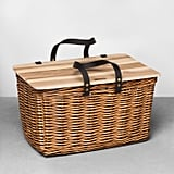 Embrace old school picnic style with this Willow Picnic Basket With Wooden Lid ($35).