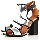 These graphic heels would be perfect for a cocktail party.  Topshop Raver Perspex Mix Sandals ($110)