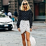Work a Mary Jane with a playful, ladylike print like polka-dots.