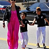 Heidi Klum picked up her silly sons, Johan and Henry Samuel, from their karate class in LA in April 2012.