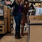 Judy's Metallic Floral Dress and Corduroy Moto Jacket on Dead to Me