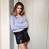 Chiara Ferragni's smart to pair a less structured off-the-shoulder sweater with a thicker material like leather.