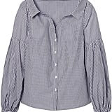 Banana Republic Stripe Open-Collar Bishop-Sleeve Shirt