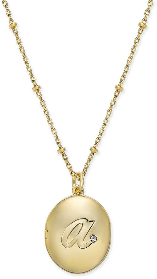 """Kate Spade Gold-Tone Initial """"A"""" Oval Locket Necklace ($68)"""