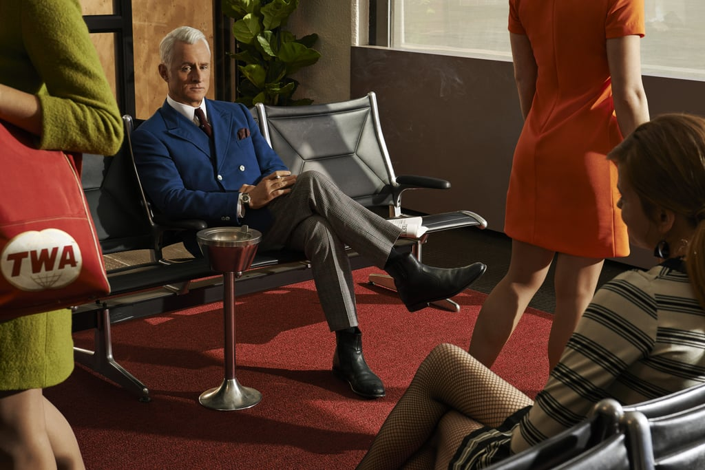 Roger Sterling (John Slattery) relaxes while waiting for his flight.