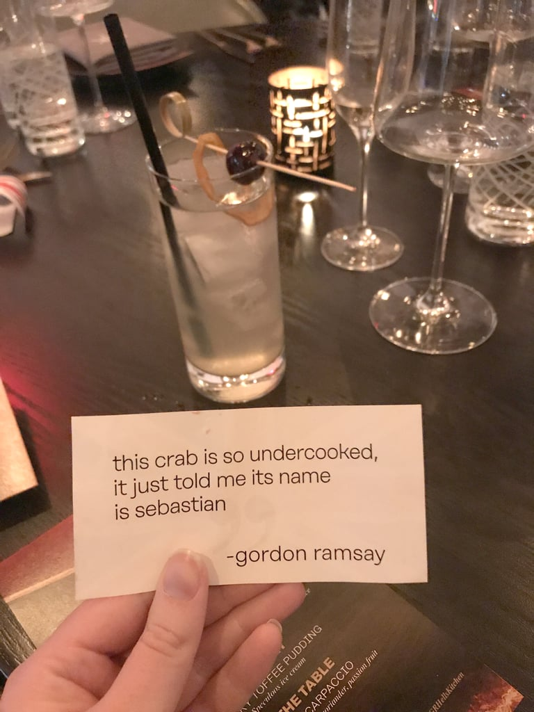 "Order the ""Notes From Gordon"" cocktail to get a classic insult from the chef."