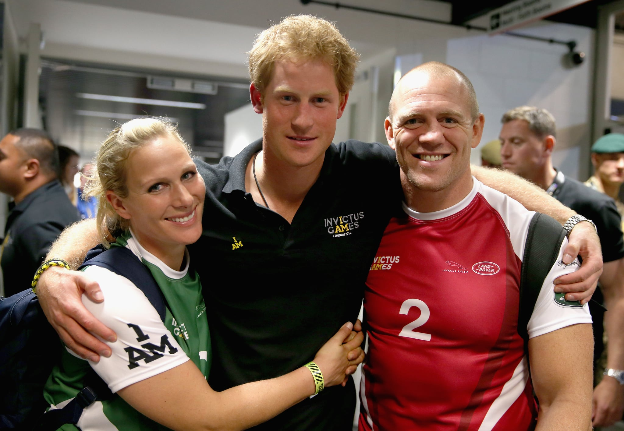 LONDON, ENGLAND - SEPTEMBER 12:  Prince Harry, Zara Phillips and Mike Tindall pose for a photograph after competing in an Exhibition wheelchair rugby match at the Copper Box ahead of tonight's exhibition match as part of the Invictus Games at Queen Elizabeth park on September 12, 2014 in London, England. The International sports event for 'wounded warriors', presented by Jaguar Land Rover, is just days away with limited last-minute tickets available at www.invictusgames.org  (Photo by Chris Jackson/Getty Images)