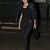 Gigi hit the streets in a sleek and sexy combo.