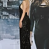Jessica Biel stepped out at the Berlin premiere of Total Recall in a seriously sexy Elie Saab gown. The ultra-embellished number hugged every curve and showed off her sculpted back to perfection.