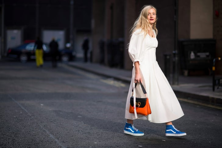 How Street Style Stars Wear Dresses And Sneakers Popsugar Fashion